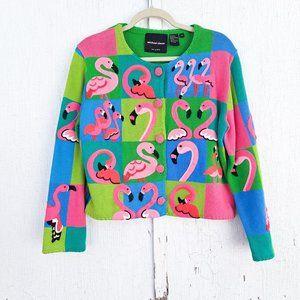 Vtg Michael Simon Flamingo Cardigan Sweater 90s Color Block Granny Petite Small